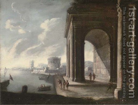 A Mediterranean coastal harbour with figures by a classical arch by (after) Viviano Codazzi - Reproduction Oil Painting
