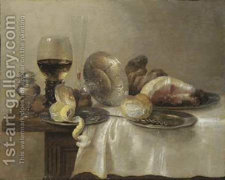 An upturned silver tazza and a partially peeled lemon on a pewter platter by (after) Willem Claesz. Heda - Reproduction Oil Painting