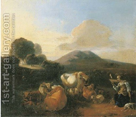 An Italianate landscape with shepherds with goats, sheep and cattle resting by a river by (after) Willem Romeyn - Reproduction Oil Painting