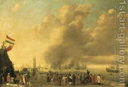 A fortified harbor with merchants and soldiers in the foreground, a naval battle beyond by (after) Willem Van De, The Younger Velde - Reproduction Oil Painting