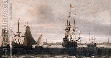 A man-of-war, a rowing boat and other shipping on the IJ, Amsterdam by (after) Willem Van Diest - Reproduction Oil Painting
