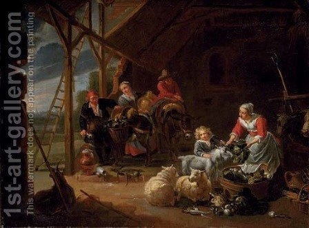 A peasant woman selling vegetables in a barn with travellers loading their donkeys by (after) Willem Van, The Elder Herp - Reproduction Oil Painting