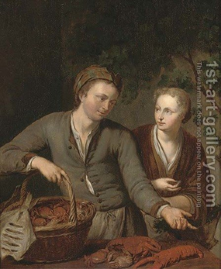 A fish seller and a vegetable seller by (after) Willem Van Mieris - Reproduction Oil Painting