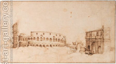 A view of the Colosseum with a triumphal arch by (after) Willem Van, The Younger Nieulandt - Reproduction Oil Painting