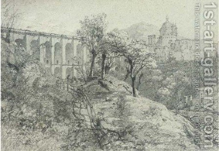 An Italian monastery by a viaduct by (after) William Crouch - Reproduction Oil Painting