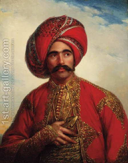 Portrait of a gentleman, half-length, in Anglo-Indian costume by (after) William Henry Florio Hutchisson - Reproduction Oil Painting