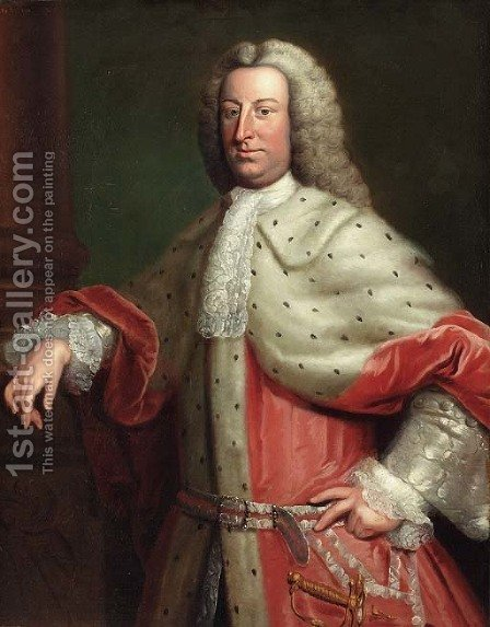 Portrait of a gentleman, said to be Henry Tenth, Lord Teynham, three-quarter length, in a red velvet and fur cloak and a wig by (after) Hoare, William, of Bath - Reproduction Oil Painting