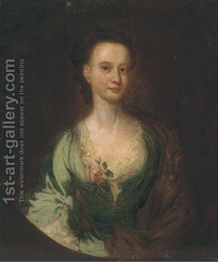 Portrait of a lady, half-length, in a green dress and brown shawl, in a feigned oval by (after) William Hogarth - Reproduction Oil Painting