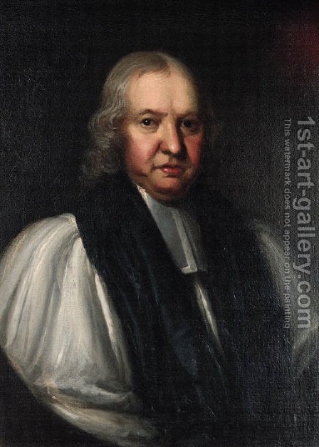 Portrait of the Bishop of Ripon, half-length, in clerical dress, feigned oval by (after) William Hogarth - Reproduction Oil Painting