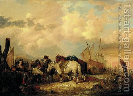 The fish-market by (after) William Joseph Shayer - Reproduction Oil Painting