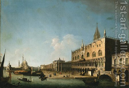 The Molo looking West with the Ducal Palace and the Piazzetta, Venice by (after) William James Muller - Reproduction Oil Painting