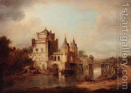 Figures resting by a river, a fortified town beyond by (after) William Marlow - Reproduction Oil Painting