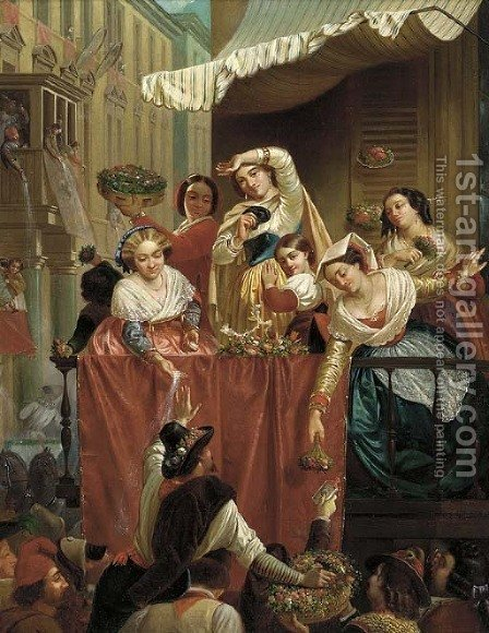 The flower festival by (after) Frith, William Powell - Reproduction Oil Painting