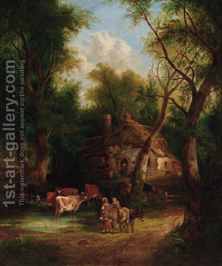 Countryfolk before a cottage in a wooded landscape by (after) William Joseph Shayer - Reproduction Oil Painting