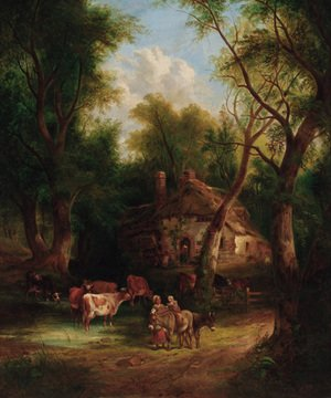 Countryfolk before a cottage in a wooded landscape
