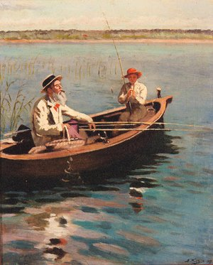 Reproduction oil paintings - Aleksandr Vladimirovich Makovsky - Fishing on a Lake on a Summer's Day