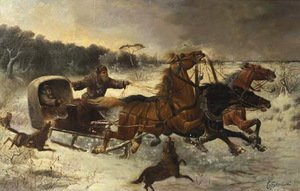 Famous paintings of Horses & Horse Riding: Wolves attacking travellers in a troika