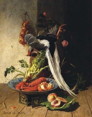 A kitchen still life with a pheasant, a lobster, various fruits and vegetables