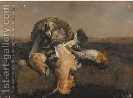 Hoopoes and a nest by David Emil Joseph de Noter - Reproduction Oil Painting
