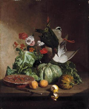 Reproduction oil paintings - David Emil Joseph de Noter - Fruit, flowers and game