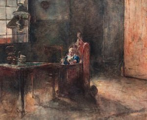 David Oyens reproductions - An interior with a child in a baby-chair