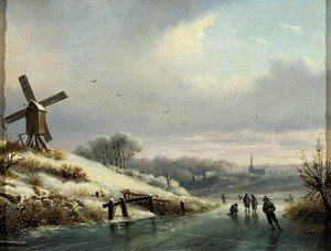 Famous paintings of Ice skating: A winter landschape with skaters on a frozen waterway