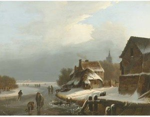 On the ice by a Dutch village