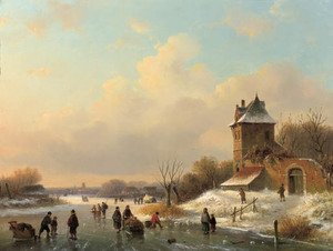 A winter landscape with skaters by a fortified mansion