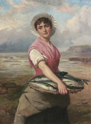 Famous paintings of Fish and Seafood: The fish wife