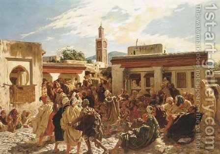 Le conteur Marocain by Alfred Dehodencq - Reproduction Oil Painting
