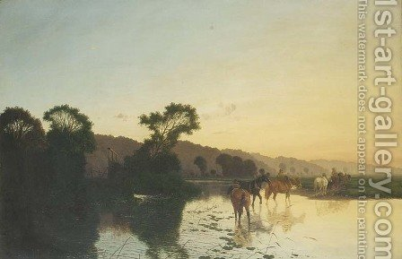 Evening at the ford by Henry John Boddington - Reproduction Oil Painting
