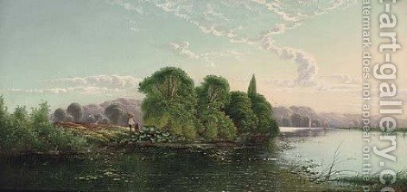 Anglers on a riverbank on a summer's day by Henry John Boddington - Reproduction Oil Painting