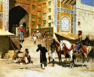 Famous paintings of Horses & Horse Riding: Steps of the Mosque Vazirkham, Lahore