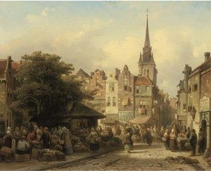 Reproduction oil paintings - Elias Pieter van Bommel - A busy market on a sunny day
