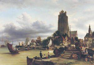 Reproduction oil paintings - Elias Pieter van Bommel - A view of Dordrecht harbour with the Grote Kerk in the background