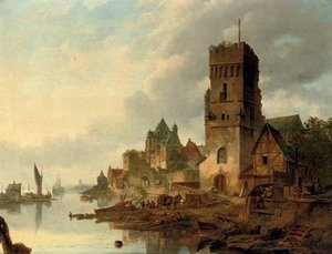 Reproduction oil paintings - Elias Pieter van Bommel - Activities on a quay in a riverside town