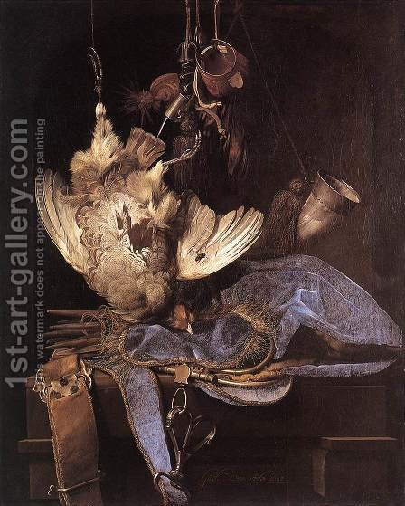 Still Life With Hunting Equipment And Dead Birds by Willem Van Aelst - Reproduction Oil Painting