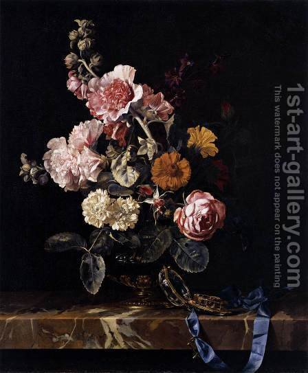 Willem Van Aelst: Vase Of Flowers With Pocket Watch 1656 - reproduction oil painting