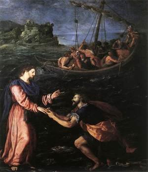 Mannerism painting reproductions: St Peter Walking on the Water 1590