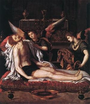 Mannerism painting reproductions: The Body of Christ with Two Angels 1600