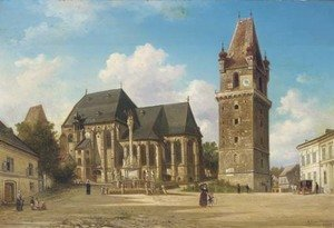 Reproduction oil paintings - Elias Pieter van Bommel - Rathhaus Perchtoldsdorf bei Wien figures on a square by a townhall, Austria