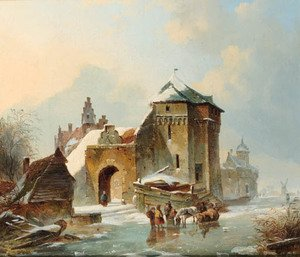 Reproduction oil paintings - Elias Pieter van Bommel - Skaters by a fortified mansion
