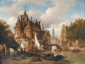 Reproduction oil paintings - Elias Pieter van Bommel - The Waag on the Nieuwmarkt with the Oude Kerk in the distance, Amsterdam