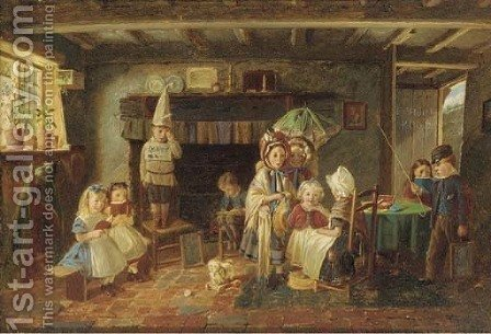 The little dame school by (after) Charles Hunt - Reproduction Oil Painting