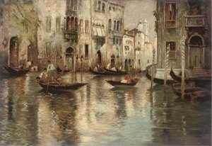 Ferdinando Silvani reproductions - A busy backwater, Venice