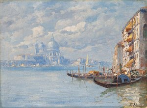 Ferdinando Silvani reproductions - The Entrance To The Grand Canal With The Santa Maria Della Salute Beyond