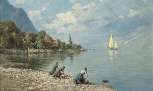 Ferdinando Silvani reproductions - Washerwomen on a North Italian lake