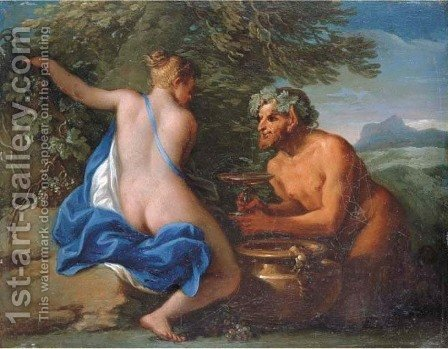Filippo Lauri: A nymph and a satyr - reproduction oil painting