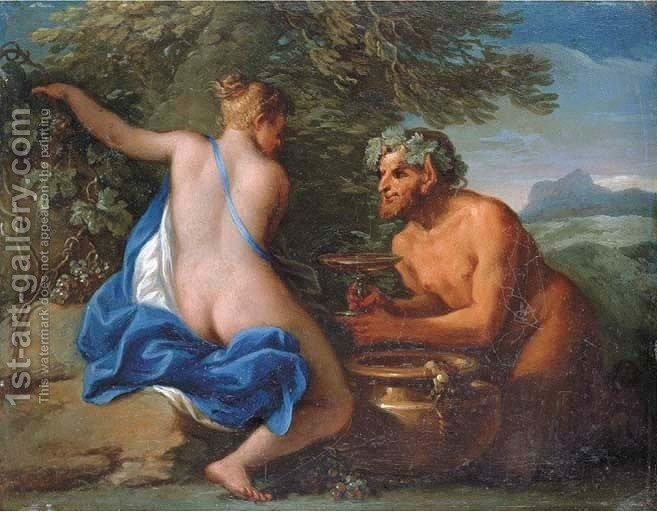 Huge version of A nymph and a satyr