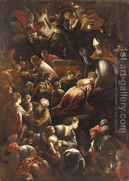The Baptism of Saint Afra by (after) Jacopo Bassano (Jacopo Da Ponte) - Reproduction Oil Painting